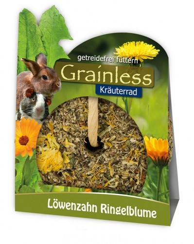 JR Farm Grainless Kräuterrad Löwenzahn RIngelblume mit Verpackung