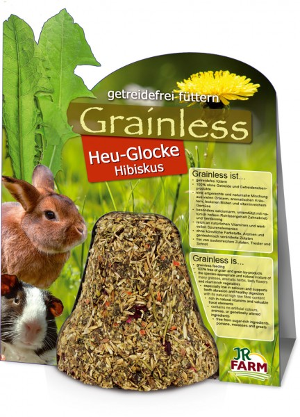 JR Farm Grainless Heu-Glocke Hibiskus mit Verpackung